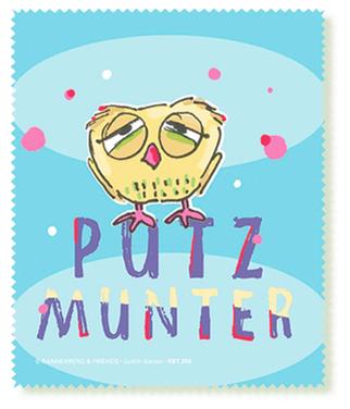 Müde Eule PUTZMUNTER Brillenputztuch – Spruch und Illustration – Judith Ganter Hamburg bei Rannenberg und Friends - Geschenkartikel mit Bildern und Sprüchen