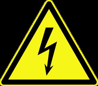 """Warnschild """"Warnung vor gefährlicher elektrischer Spannungen"""" als Symbolbild für den Experimentalvortrag elektrische Gefahren"""