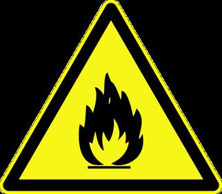 """Warnschild """"Warnung vor feuergefährlichen Stoffen"""" als Symbol für den Experientalvortrag Brennen und Löschen"""
