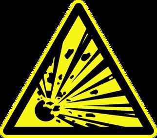 """Warnschild """"Warnung vor Explosionsgefährlichen Stoffen"""" als Symbolbild für den Experimentalvortrag Explosionen"""