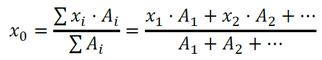 Formel zur Berechnung des Schwerpunktabstandes in x-Richtung