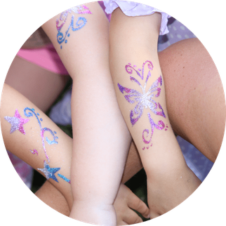 Kinderanimation Würzburg Glitzertattoos