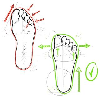 Zehenbox Vergleich bei normalen Schuhen und Barfußschuhen