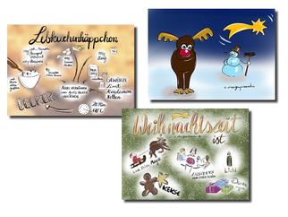 Weihnachtskarten, Postkarten, Weihnachten, Sketchnotes, Elch, Lebkuchen, Weihnachten