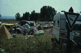 Was auf den ersten Blick aussieht wie ein Campingplatz, ist eine illegale Ansammlung von Campern mitten im Naturschutzgebiet - Foto: NABU Konstanz