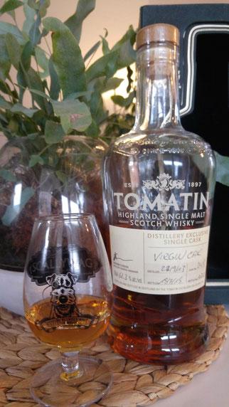 Tomatin 2013 / 2018 Flasche und Glas