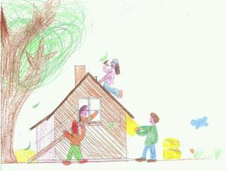 Unser Haus aus Stroh, gemalt von Anna (10)