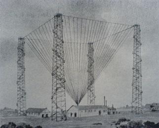 Il padiglione antenna di 400 fili alla stazione radiotelegrafica di Poldhu - 1914
