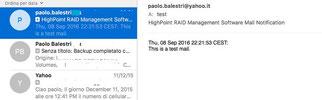 Invio della mail in caso di eventi.