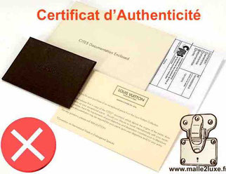 certificat d'authenticité louis vuitton malle
