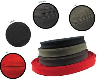 Schrägband, BW, 3er Breite. Farben: rot, schwarz, braungrau, oliv (solange der Vorrat reicht)