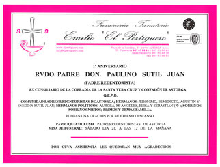 Misa 1º Aniverssario Rvdo. Padre Don. Paulino Sutil Juan