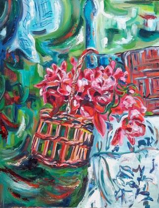 Le panier aux pivoines, peinture à l'huile