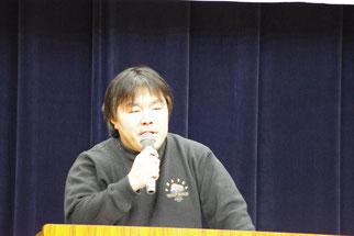 パナソニック争議をめぐる教訓について講演する吉岡さん