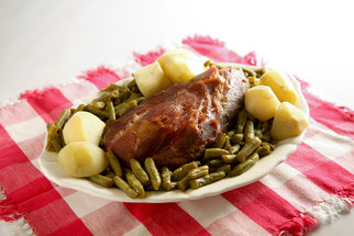 Stehlin's Cottage Ham is great cooked with Green Beans and Potatoes