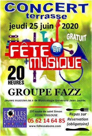 Concert groupe Fazz à Folles Saisons
