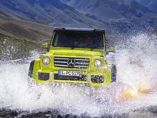 Mercedes präsentiert einen Gelände-Giganten: Der G500 4x4 hoch 2 nimmt steile Anstiege, tiefe Wasserläufe und kurvige Straßen mit Leichtigkeit. Foto: Mercedes