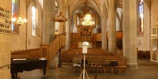 Blick vom Ambo in die St. Matthiaskirche Bad Sobernheim, Rheinland-Pfalz