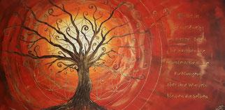Lebensbaum in rot mit der Blume des Lebens Acryl auf Leinwand