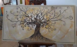 Lebensbaum in Naturfarben mit Schattenfugenrahmen in Acryl auf Leinwand