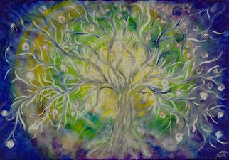 Lebensbaum gemalt in Acryl auf Leinwand 100x80cm -Energiebild