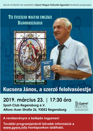 Kucsera János felolvasóestje, Gyere! Magyar Kulturális Egyesület