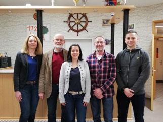 der alte und neue Vorstand: v.l.n.r. Sandra Friede, Helmut Kohle, Anne Ignatzek, Hans-Dieter Klaaßen und Marcel Müller
