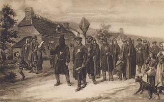 Une procession de Cagots dans les Pyrénées