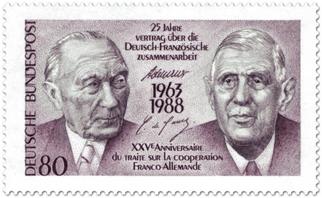 Sondermarke zum 25. Jahrestag des Élysée-Vertrags