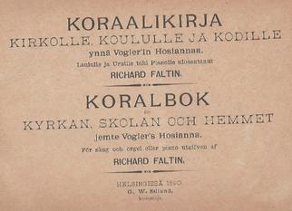 Choralbuch von R. Faltin, Helsingfors 1890. Mitgeteilt von Dr. R. Ziemssen.