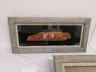 遠い明日の行方 テンペラ、油彩、木、箔 260×595mm 231,000円(税込)
