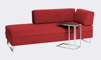 Swiss Plus Schlafsofa living for Bed Doppio in rot, Beistelltisch chromkufe