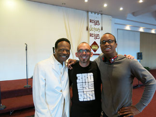 4th time Grammy Award Winner Edwin Hawkins, Zoltán Szalatnay & Patrick Sturgis; Love Centre Church Oakland CA (USA), Herbst 2013   photo © by zoltán szalatnay
