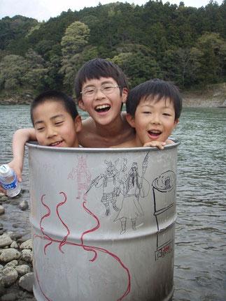 小学校4年生 ドラム缶風呂