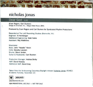 nicholas nick jonas brothers dear god solo ino records columbia daylight 2004
