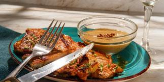 Côtes de porc marinées moutarde, miel & sauce soja - Recette de aout