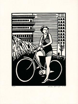 Linolschnitt Katrin Stangl Frau mit Fahrrad
