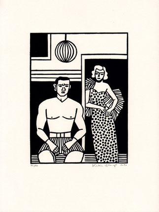 Linolschnitt Katrin Stangl Mann und Frau