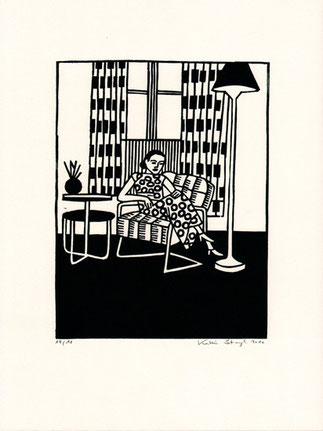 Linolschnitt Katrin Stangl Frau im Sessel