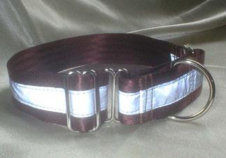 Martingale, Halsband, 4cm, Gurtband schokobraun, refelx streifen