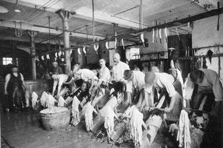 ouvriers du XXème siècle effectuant l'ébourrage a la main