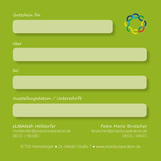 Gutschein von der Praxiskooperation Memmingen - Elisabeth Hölldorfer und Petra Maria Brutscher