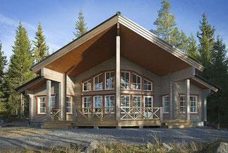 Holzhaus in massiver Blockbauweise - Holzbau - Nachhaltiges Blockhaus bauen - Dieses Haus ist bestens geeignet für Ihr Grundstück am Hang oder See!