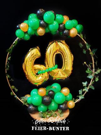 Organic hoop Feier bunter Geschenk Helium Zahlen Geburtstag Efeu 60 ter Jubiläum Aachen Düren Eschweiler