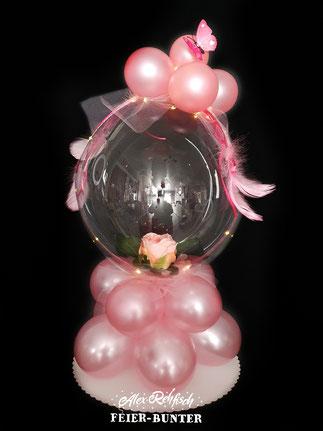 """G 037 - Rosenbubble - besteht aus einem beleuchtetetem 18"""" Bubbleballon  (gefüllt mit Rose & Konfetti) und hochwertigen Satin Latexballons  - 39,90€"""