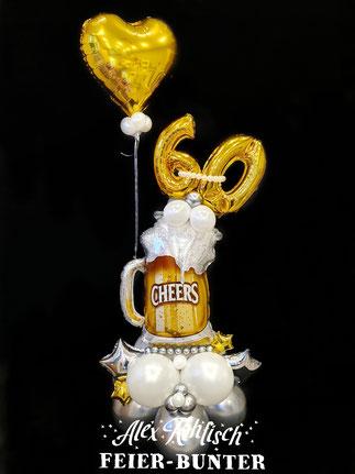 G 011 Bubblezauber  Ballonskulptur mit gefüllten Bubbleballon in vielen Variationen möglich, kann mit der Geburtstagszahl oder Glückwünschen beschriftet werden. ca.1m hoch 32,50€