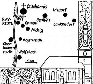 Stadtteile und Nachbarorte, die zur Kirchengemeinde St. Johannis gehören