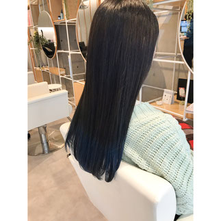 横浜 元町 石川町 美容室 Grantus セミロング ロングスタイル デザインカラー ブルー マリンカラー グラデーションカラー 卒業式