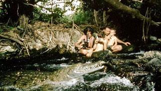 Victoria Stone e Mark Deeble e famiglia, riprendono i coccodrilli a Mzima Springs, in Kenya.