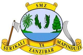 Stemma di Zanzibar. Nel centro le isole di Zanzibar e Pemba. Sostenitori: ascia e machete. Motto: SERIKALI YA MAPINDUZI ZANZIBAR (Governo rivoluzionario di Zanzibar).